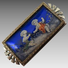 Victorian Enamel Brooch with Children
