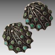 1934-44 Italian 800 Silver Turquoise Earrings