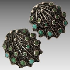 1934-44 Italian 800 Silver Turquoise Earrings