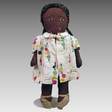 1930s Black Cloth Doll 12.5 inches