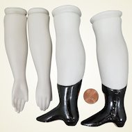 Vintage Parian Bisque Replacement Arms Legs Set 5 inches