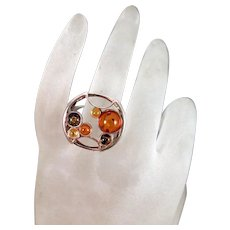 Vintage Amber Sterling Silver Mod Ring size 7