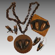 Rebaje Copper Double Masks Parure Set, Pendant, Brooch, Earrings