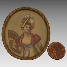 Early 1800s Empire Lady Portrait Miniature Brooch