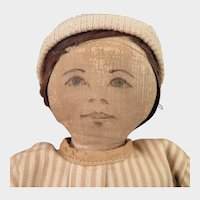 c. 1900 Cloth Doll with Ink drawn face, 11 inch