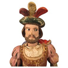 Antique Painted Wood Man Mechanical Cavalier Doll Toy