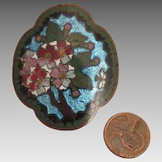 Antique Chinese Cloisonne Cherry Blossom Brooch
