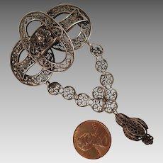Antique Sterling Silver Filigree Dangling Brooch