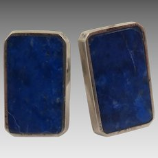 1930s Sterling Lapis Cufflinks Hand Made