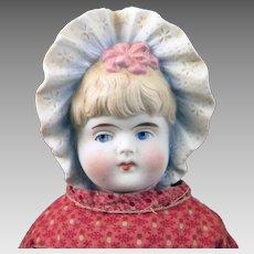 Antique German Bisque Bonnet Head Doll 15 inches