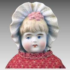 Antique German Bisque Bonnet Head Doll 15 inches