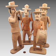 Vintage 4 Wood South American Musician Doll Figures