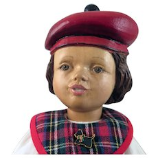 Robert Raikes Scottish Girl Jointed Wood Doll 11 inches