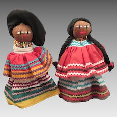 Pair Vintage Seminole American Indian Dolls 6.5 inches