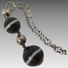 Antique Sterling Silver Banded Agate Necklace