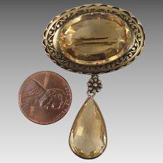 Victorian 800 Silver Citrine Brooch