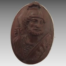 Victorian Lava Cameo Brooch of Roman Soldier
