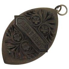Victorian Vulcanite Locket Forget Me Not Memorial