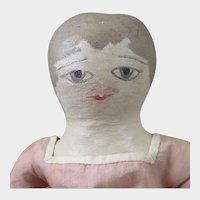 Antique Painted Cloth Doll 14 inches