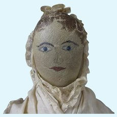 Antique Painted Cloth Doll 19 inches