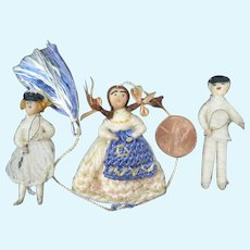 3 Tiny Thread Dolls 2 inches