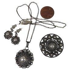 Etruscan Revival Sterling Necklace, Brooch, Earrings Set