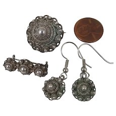 Antique Etruscan Revival Earrings and Brooch Set