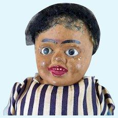 Antique Black Papier Mache Doll All Original 12 inches