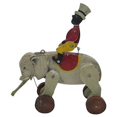 Antique Wood Jockey on Elephant Pull Toy