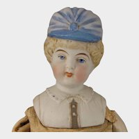 15 inch Hertwig Parian Bisque Bonnet Head Doll
