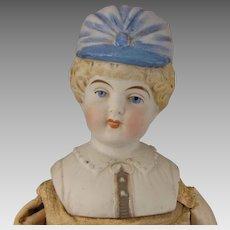 15 inch Hertwig Parian Bisque Bonnet Head Doll