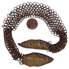 Circa 1900 Arts and Crafts Brass Snake Copper Chain Mail Clasp - Red Tag Sale Item