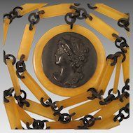 Antique Celluloid Cameo Necklace and Chain