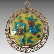 Chinese Sterling Silver Enamel Pendant