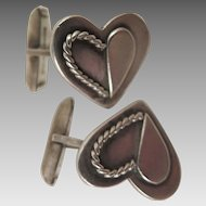 1949 Sterling Silver Heart Cufflinks