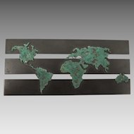 Vintage Copper World Map Brooch