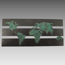 Vintage Copper World Map Brooch