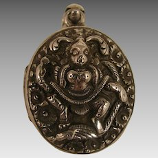Antique Sterling Silver Indian God Locket