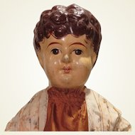 Antique French Papier Mache Jointed Carton Doll 32 inches