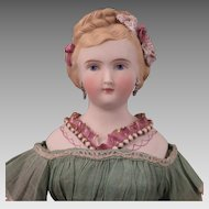 1870s German Kling Parian Bisque Lady Doll with Fancy Decorations 15 inches