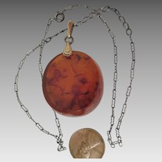 Vintage Russian Honey Amber Pendant on Sterling Silver Necklace Chain