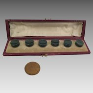 Antique Bloodstone Button Studs 6 piece Set in Original Box