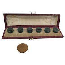 Antique Bloodstone Button Studs 6 piece Set in Original Box