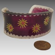 Vintage Lucite Purple and Yellow Daisy Bracelet Cuff