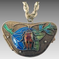 Chinese Export Enameled Beetle Locket Pendant on Necklace Chain