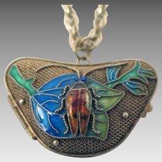 Chinese Export Enameled Beetle Locket Pendant on Necklace Chain
