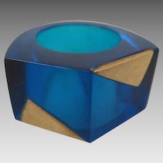 Vintage Blue Art Glass Ring size 6.5