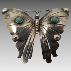 Vintage Mexican Sterling Silver Turquoise Butterfly Brooch