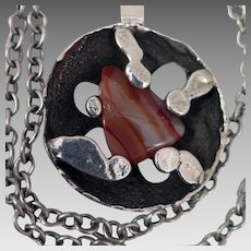 Vintage Jacob Hull B D Brutalist Pendant Necklace with Agate