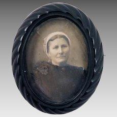 Antique Mourning Locket Photo Brooch